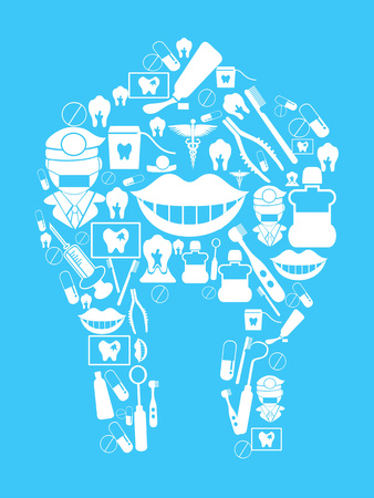 gum paste: dental design on blue background Illustration