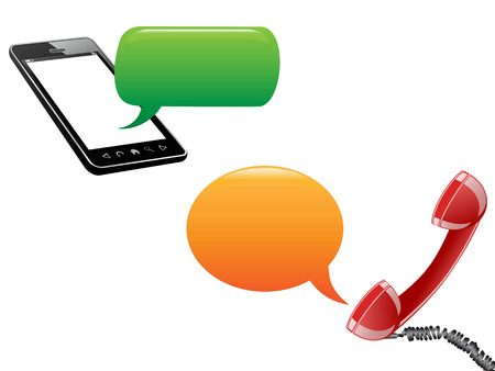 media gadget: phone communicated with speech bubbles on white background Illustration