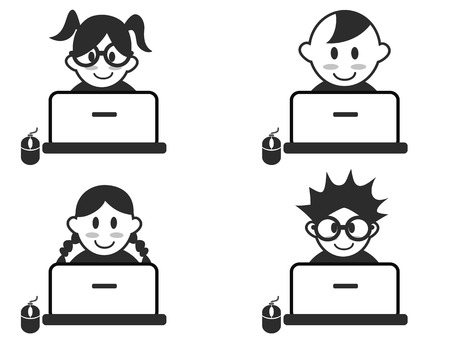 funny: isolated kids head with notebook icons on white background Illustration