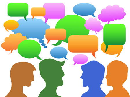 Isolated color people Communication in speech bubble on white background