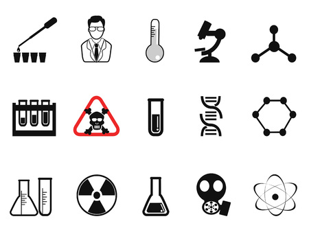 dangers: isolated black chemistry icons set from white background