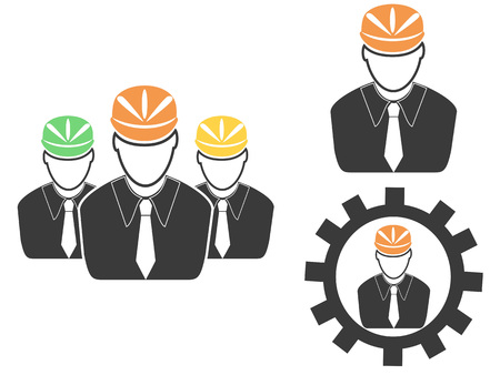 The set of engineer head icons
