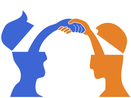 Isolated 2 people head with handshaking on white background Illustration