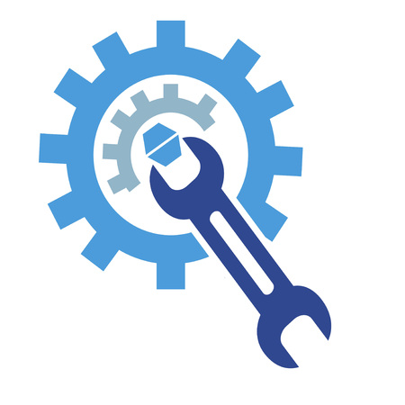 the symbol of gear wrench logo on white background