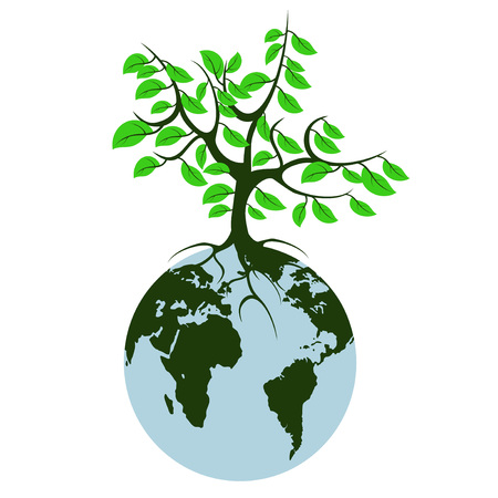 sea pollution: The earth tree on white background Illustration