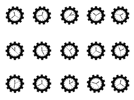 working office: Isolated gear clock icons set on white background
