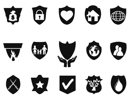 Isolated black shield protect icons set from white background