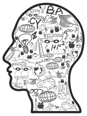 car: Isolated doodle education icons in head on white background