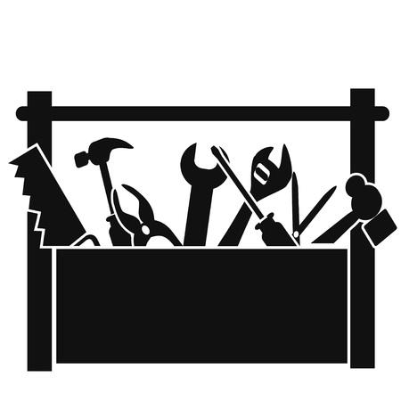 Isolated black tools box on white background