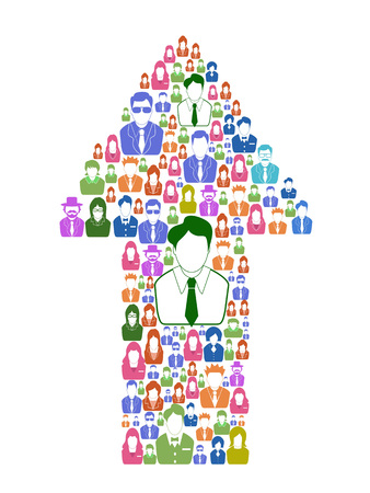 Isolated color business people in arrow shape from white background Illustration