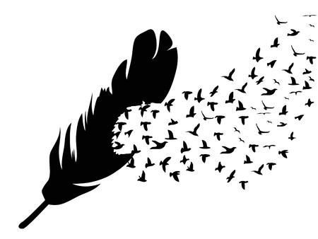 Geïsoleerde zwarte vogel die van veer vliegt op witte achtergrond Stock Illustratie