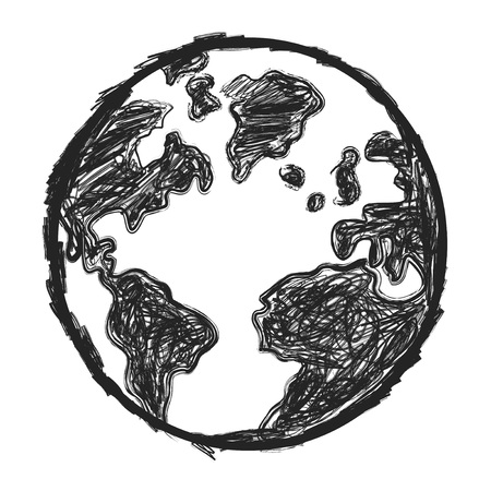 clop: isolated sketchy doodle earth on white background