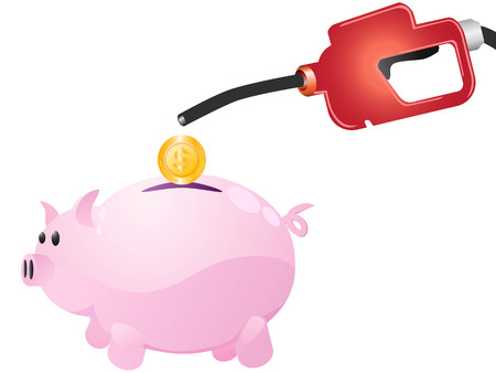 isolated pumping  money to piggy on white background 向量圖像