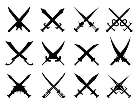 danger: isolated black heraldic swords set froim white background