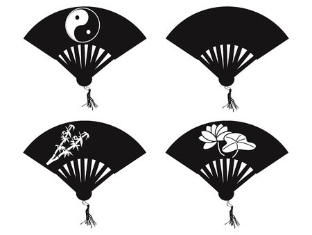 isolated Chinese fan icons on white background