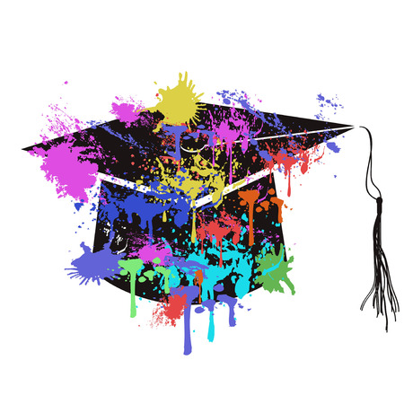 isolated colorful mortarboard cap from white background