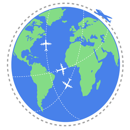 modern background: isolated airplane flying travel around the world from white background