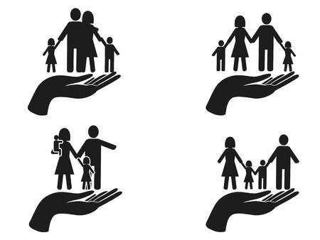 isolated black hand holding family icons set on white background