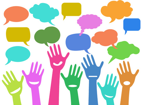 Colorful hands with speech bubbles vector illustration Illustration