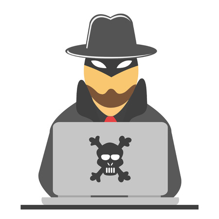 isolated the hacker with laptop from white background Illustration