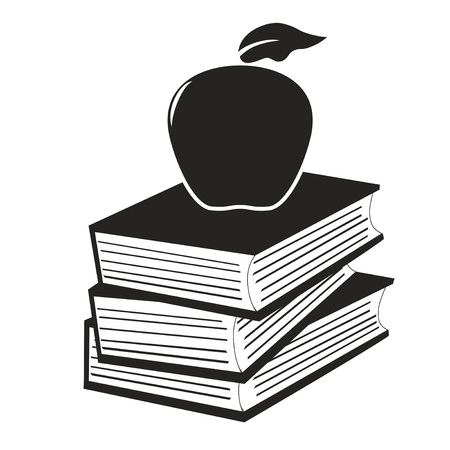 apple isolated: isolated apple on the books from white background Illustration