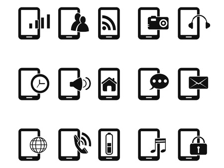 technology: isolated black mobile phone icons set from white background