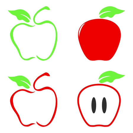 apple isolated: isolated color apple icon on white background Illustration