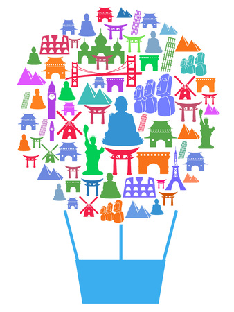 easter island: isolated travel landmark in air balloon poster design from white background Illustration