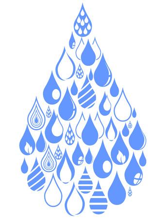 isolated blue drops group set on white background Illustration
