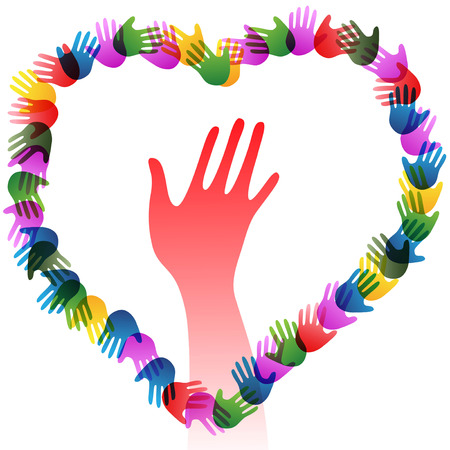isolated colorful hands holding forming heart on white background Illustration