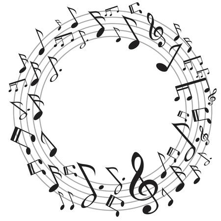 흰색 배경에 서클 음악 노트의 디자인