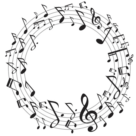 the design of circle music notes on white background Illustration