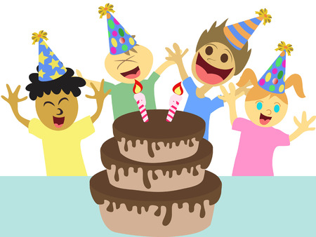 isolated cartoon kids celebrating happy birthday party on white background