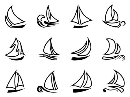 isolated black sailboat outline icons from white background