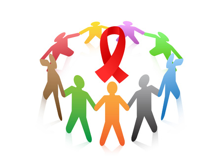 brown: isolated people around the red ribbon AIDS symbol from white background Illustration