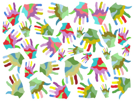 handprints: isolated colorful painting hands seamless patterns on white background