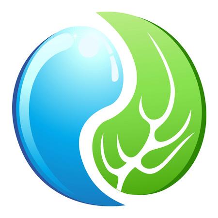 Yin Yang isolé dans les symboles des feuilles et de l'eau