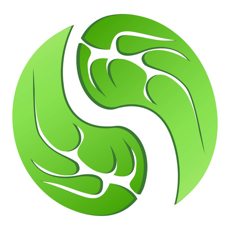 Isolated green leaf cycle symbol