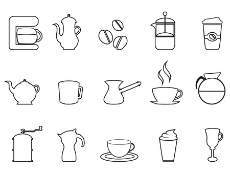 tea hot drink: Isolated coffee linear vector icon set