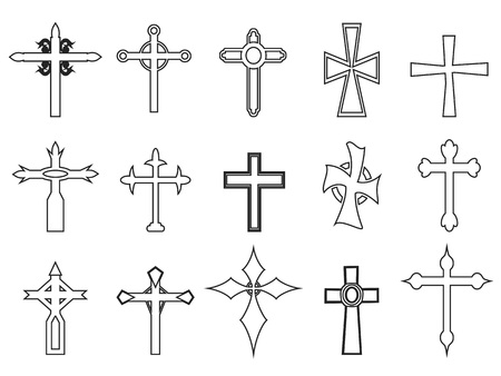 Isolated religious cross outline icons Illustration