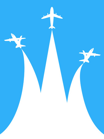 Flying white airplanes with copy space vector Illustration