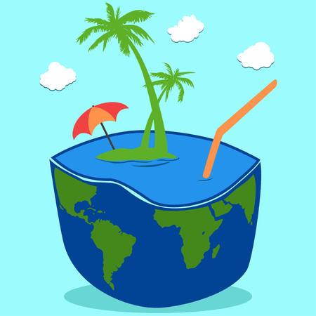 cartoon umbrella: A coconut island drink on blue sky with clouds