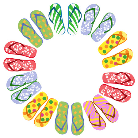 Flip flops circle with copy space on white background Illustration