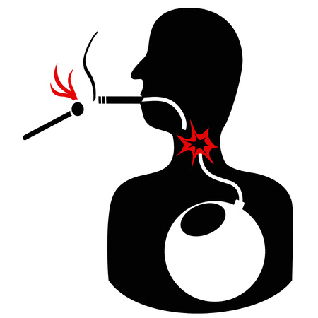 dangerous man: Concept of unhealthy cigarette smoke bomb on white background
