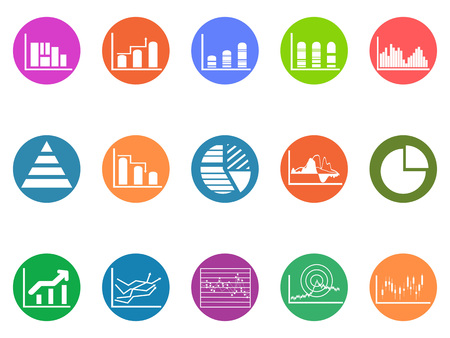 Graph chart round button icons set on white background Illustration