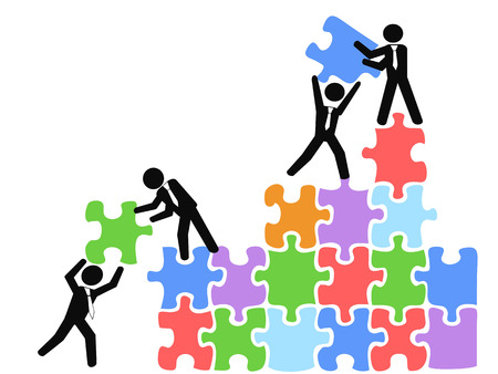 Group of people solving puzzle, isolated business teams work with jigsaw puzzles