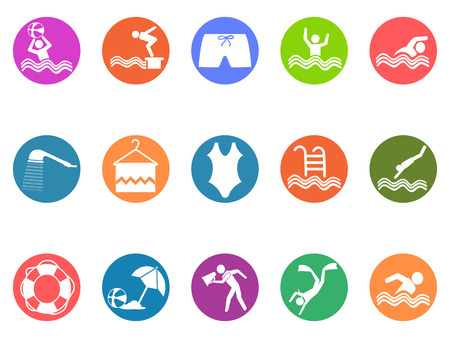 Colorful Set of isolated swimming pool round icons