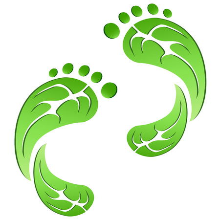 Green leaf carbon eco footprints on white background