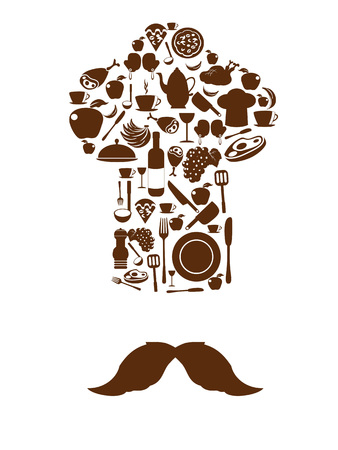 cup: Kitchen tool icons on chef hat with mustache from white background Illustration