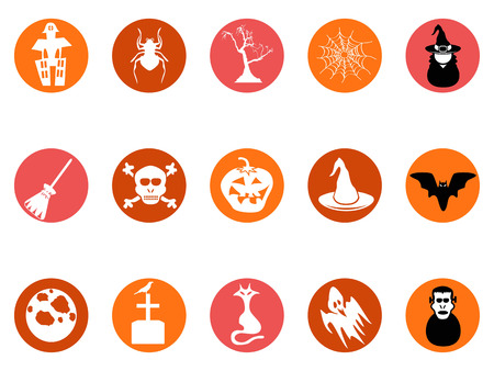 Isolated brown Halloween round button icons set from white background